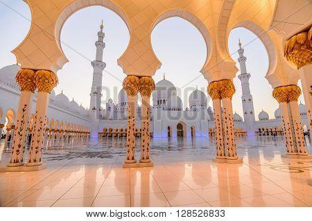 Abu Dhabi, UAE- March 2, 2016:Sheikh Zayed Grand Mosque at dusk in Abu Dhabi UAE