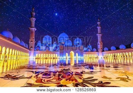 Abu Dhabi, UAE- March 2, 2016:Sheikh Zayed Grand Mosque in Abu Dhabi UAE at night