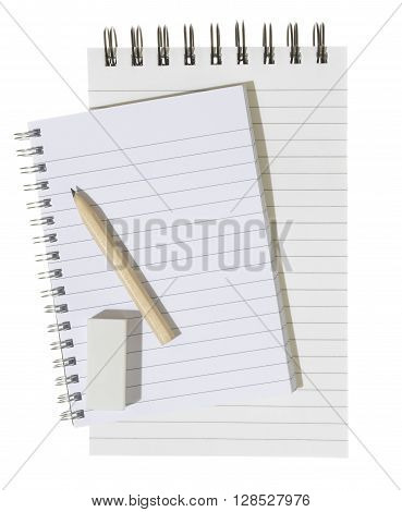 Note Pad with pencil isolated on a white background