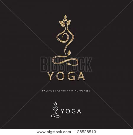 BEAUTIFUL ELEGANT SILHOUETTE IN YOGA POSITION , VECTOR LOGO / ICON , GOLD ON BLACK BACKGROUND