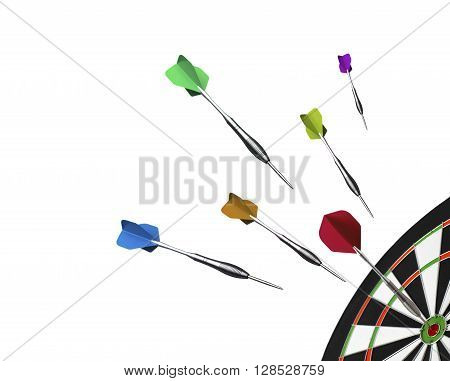 Dartboard with flying darts isolated on a white background