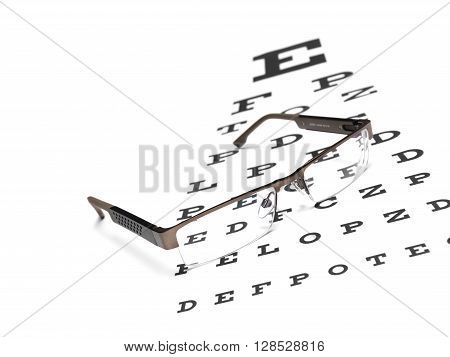 Glasses with an eye chart isolated on a white background