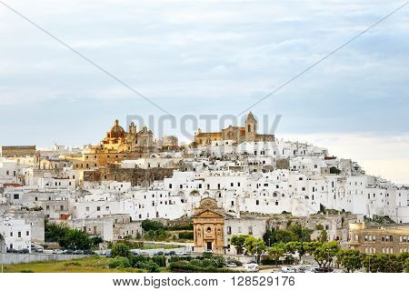 panoramic view of the white city Ostuni Apulia mediterranean southern Italy