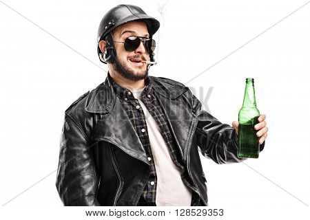 Male biker in a black leather jacket holding a beer and smoking a cigarette isolated on white background
