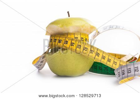 Fresh And Green Organic Apple With Metering Tape On White