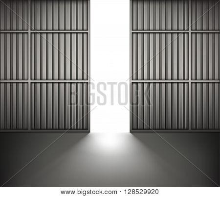 Bright light in open hangar doors . vector illustration.