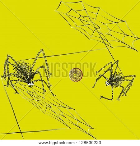 Illustration ball spiders game Picture between the web strands play ball two spider on a yellow background for decoration and design