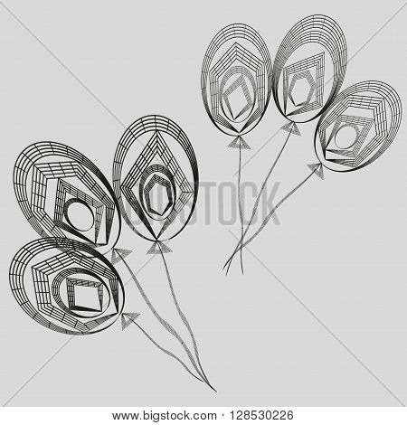 Drawing black white balloons  stripes and lines