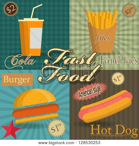 Fast food. Cola, hamburger and fries. vector illustration.