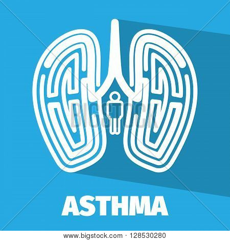Vector Brain maze symbolizes asthma and lung.