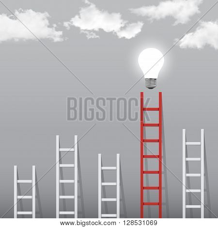 ladder to success concept with idea light bulb.