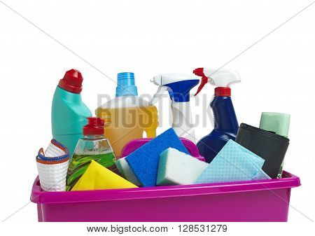 Cleaning Caddy fully loaded isolated on a white background
