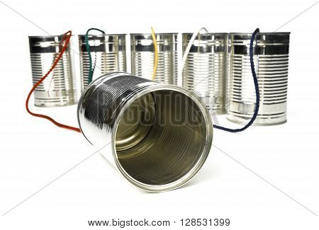 Tin Can Telephone exchange isolated on a white background