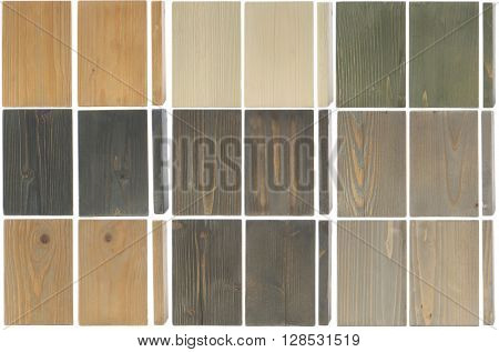 fine wood texture samples, isolated on white