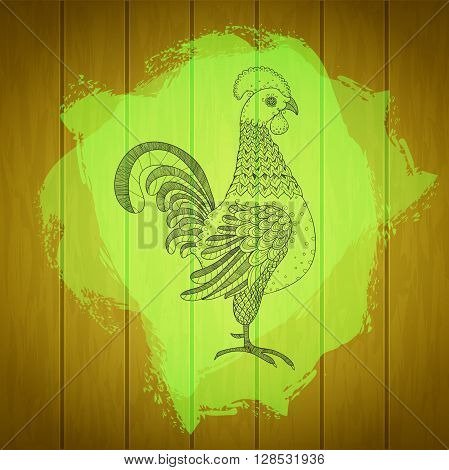 Rooster on painted splash and wood texture background. Rooster for fresh farm sign design. Cock symbol for agriculture industry poster branding. Farm animal sign. Vector organic products illustration