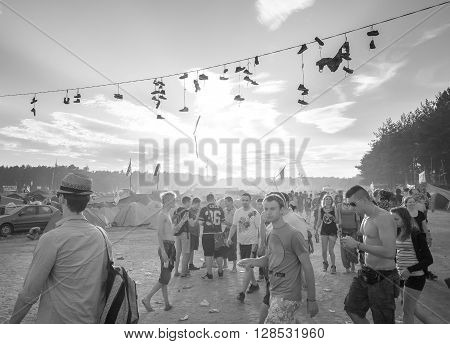 Kostrzyn Nad Odra, Poland - August 1, 2015: People Walking To The Main Stage On The 21Th Woodstock F