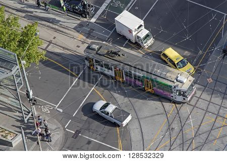 MELBOURNE, AUSTRALIA - APRIL, 2016 : Bird view of Yarra Tram passing La Trobe Street in Melbourne, Australia on April 11, 2016.