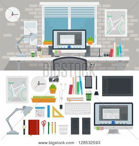 Designer cabinet vector flat illustrations. Designer working place. Different equipment for design. Many technics, books, pen, pencil, rulers, lamp, clock, interior details isolated on white background