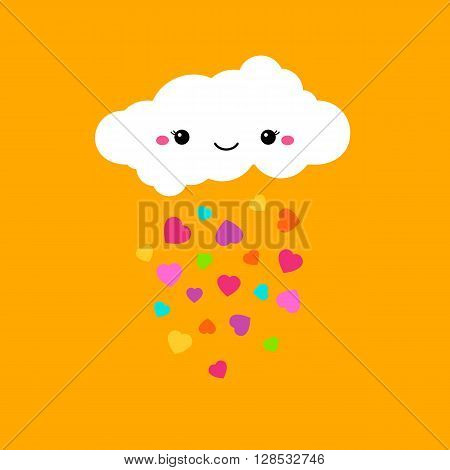 Abstract cute bright cartoon vector cloud. Raindrops of colorful hearts sweet illustration. Kids bright decorative background. Cute cloud poster design for baby room decor, kids cloth decoration