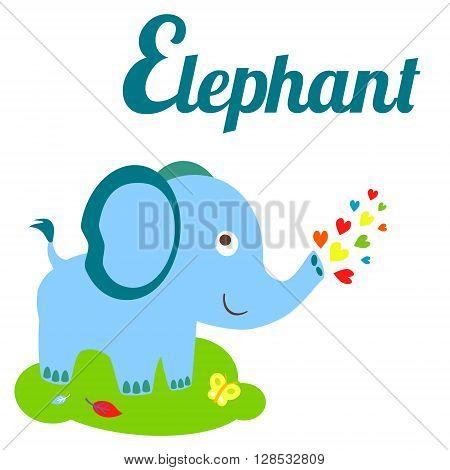 Cute animal alphabet. E letter. Cute cartoon Elephant. Alphabet design in a colorful style - stock vector