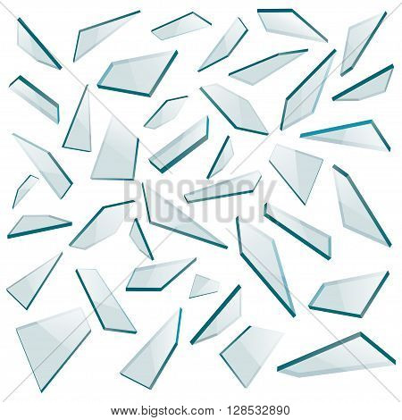 Shards of glass isolated on a white background