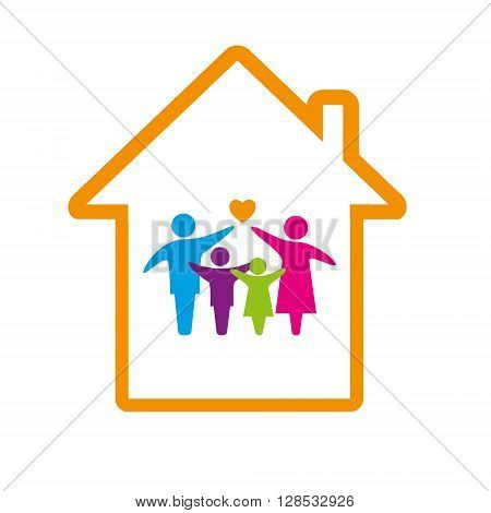 Family logo concept, happy and loving faminly inside a house