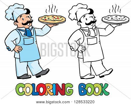 Coloring picture or coloring book of funny cook or chef or baker. Children vector illustration. Profession ABC series.