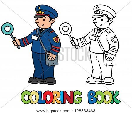 Coloring picture or coloring book of funny railroader in uniform. Profession ABC series. Children vector illustration.