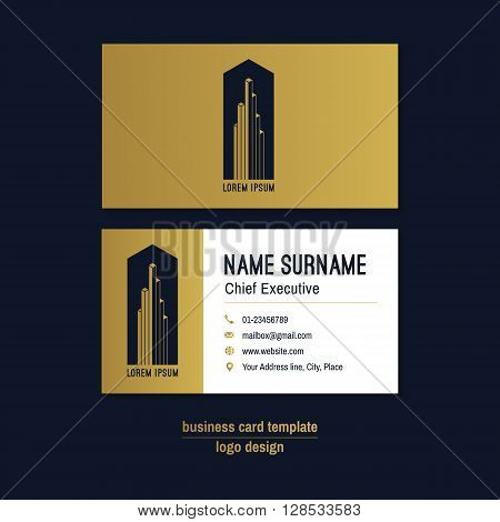Abstract horizontal vector business card template. Gold blue white business card layout. Corporate business card background. Modern visit card with abstract logo and icons. Vector visiting card.