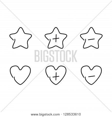 Favorite set icons for wedding and valentinas day. Vector illustration.