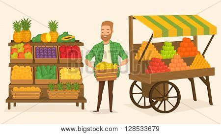 Farmers market. Local farmer shopkeeper. Seller fresh vegetables. Natural product. Food for a healthy lifestyle. Local shop. Vegetarian food.