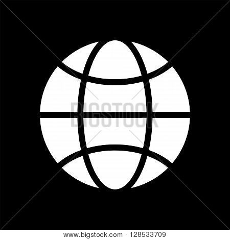 Vector black and white globe icon. Global design concept. Globe symbol for web print. Vector globe icon design element. Flat earth. Globe logo. Globe sign symbol for app design. Vector illustration.