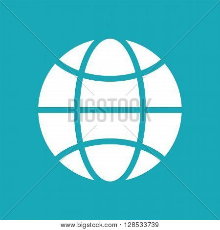 Vector blue and white globe icon. Global design concept. Globe symbol for web print. Vector globe icon design element. Flat earth. Globe logo. Globe sign symbol for apps design. Vector illustration.