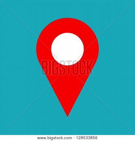 Vector map pin icon. Map pin icon symbol for address. Flat map pin icon for website print business card design. Simple shape. Vector pointer for gps navigation apps. Marker for map. Vector web icon