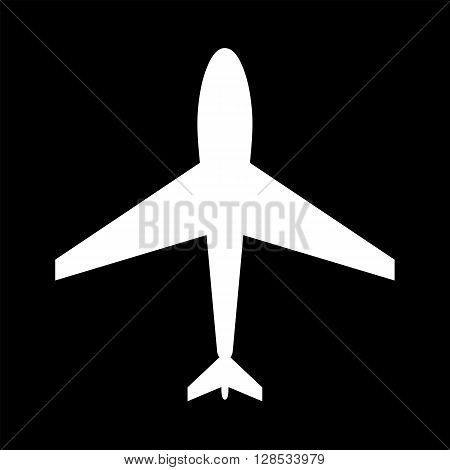 Black and white web icon of plane. Airport icon plane shape. Plane icon shape label symbol. Graphic vector element. Vector design element for logo web and print.
