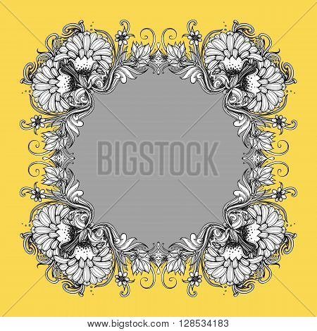Floral vector frame. Floral frame design. Wreath of flowers. Flower ring. Stylized flowers: dahlia chrysanthemum mums flower aster marigold. Drawing plants herbs grass leaves. Vector frame