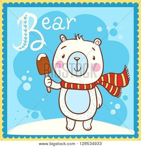 Animal alphabet for the kids. Illustrated alphabet Letter B and bear.
