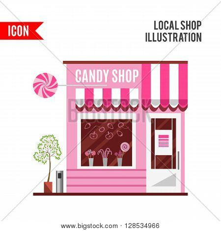 Candy shop in a pink color. Flat design illustration of small business concept. Tasty candies in a shop window. Lollipops boutique. Stylish sweets shop. Confectionery shop. Cute desserts.