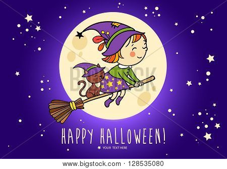 Halloween vector card with funny witch and her cat on a broomstick flying in front of the moon . Bright holiday background in vector.