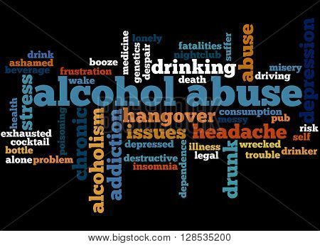 Alcohol Abuse, Word Cloud Concept
