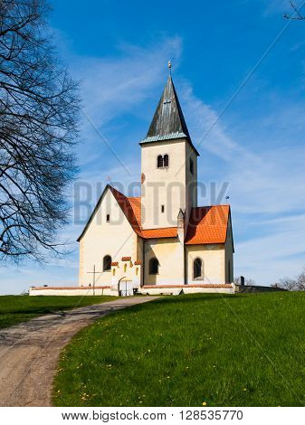 Small rural church of St. Philip and Jacob in Chvojen, Czech Republic