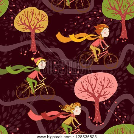Seamless pattern with girls and bikes.Seamless autumn texture with trees.