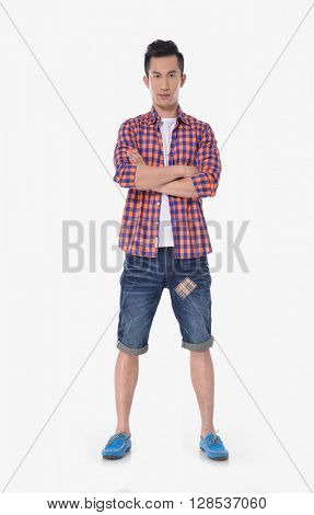 Full body Portrait of young men in jeans posing