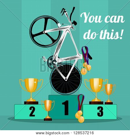 The victory in cycling. Prize-winning places on cycling. Awarding the prize cups and medals to the winners in the bike race. Cycling and awards. Vector illustration.