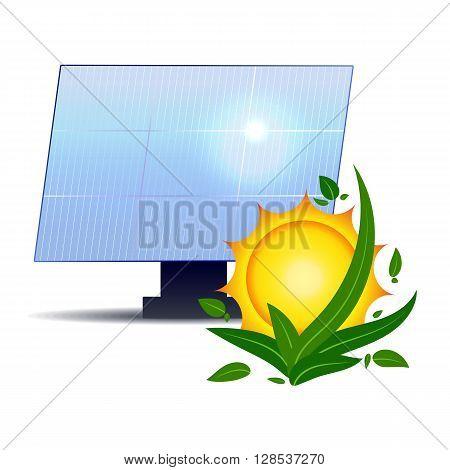 Alternative sources of energy. Vector illustration. Solar battery. Eco energy.