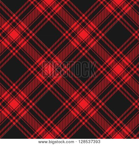 Menzies tartan black red kilt diagonal fabric texture background seamless pattern.Vector illustration. EPS 10. No transparency. No gradients.
