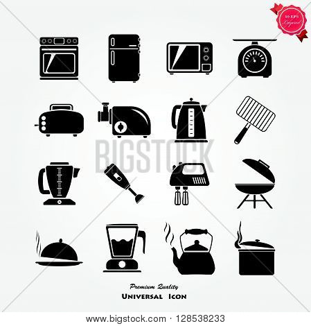 Kitchen utensils gadgets and accessories icons collection with toaster and rolling pin flat abstract isolated vector illustration