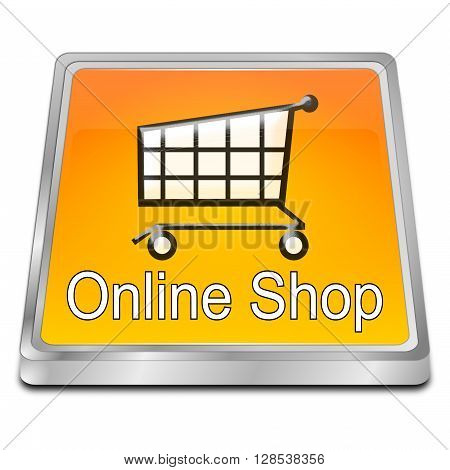 orange online Shop Button - 3D illustration