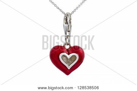 Red enamel painted heart pendant necklace on white background