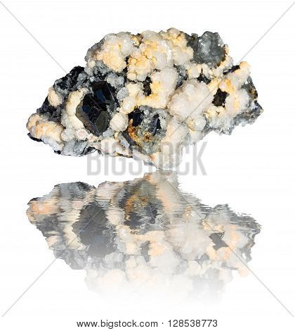 Big mixed mineral rock isolated on white.